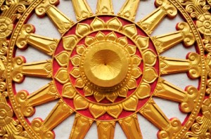 Golden Buddhism Symbol Wheel of Life